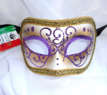 Genuine Venetian Purple Glitter half Mask